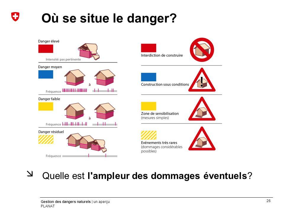 26 Gestion des dangers naturels | un aperçu PLANAT Où se situe le danger? Quelle est l'ampleur des dommages éventuels?