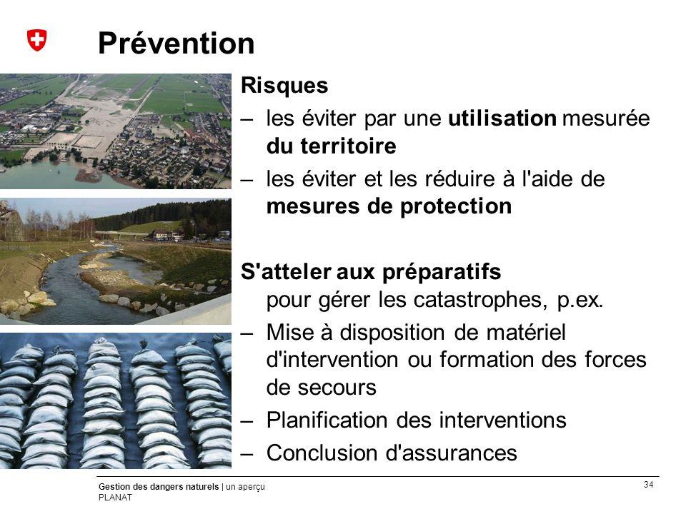 34 Gestion des dangers naturels | un aperçu PLANAT Prévention Risques –les éviter par une utilisation mesurée du territoire –les éviter et les réduire
