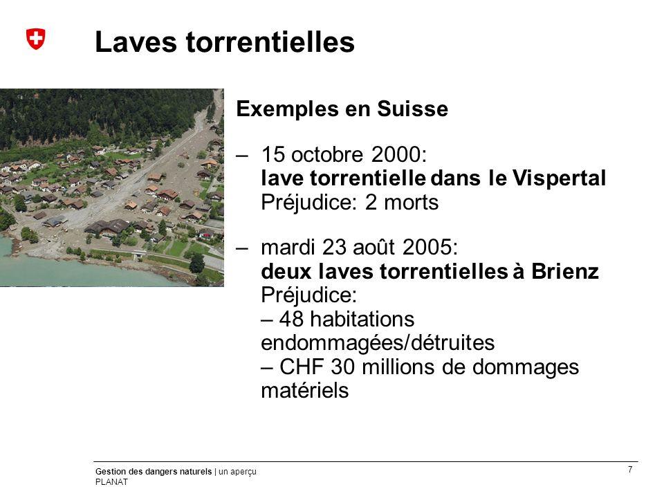 7 Gestion des dangers naturels | un aperçu PLANAT Exemples en Suisse –15 octobre 2000: lave torrentielle dans le Vispertal Préjudice: 2 morts –mardi 2
