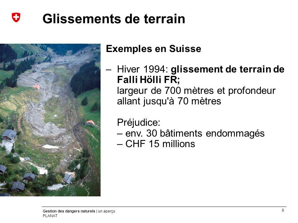 8 Gestion des dangers naturels | un aperçu PLANAT Exemples en Suisse –Hiver 1994: glissement de terrain de Falli Hölli FR; largeur de 700 mètres et pr