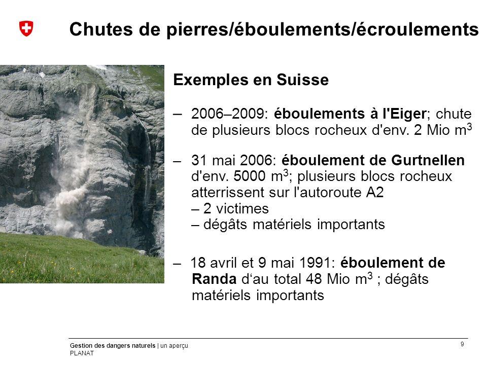 9 Gestion des dangers naturels | un aperçu PLANAT Exemples en Suisse – 2006–2009: éboulements à l'Eiger; chute de plusieurs blocs rocheux d'env. 2 Mio