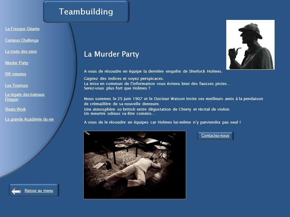 La Murder Party A vous de résoudre en équipe la dernière enquête de Sherlock Holmes.