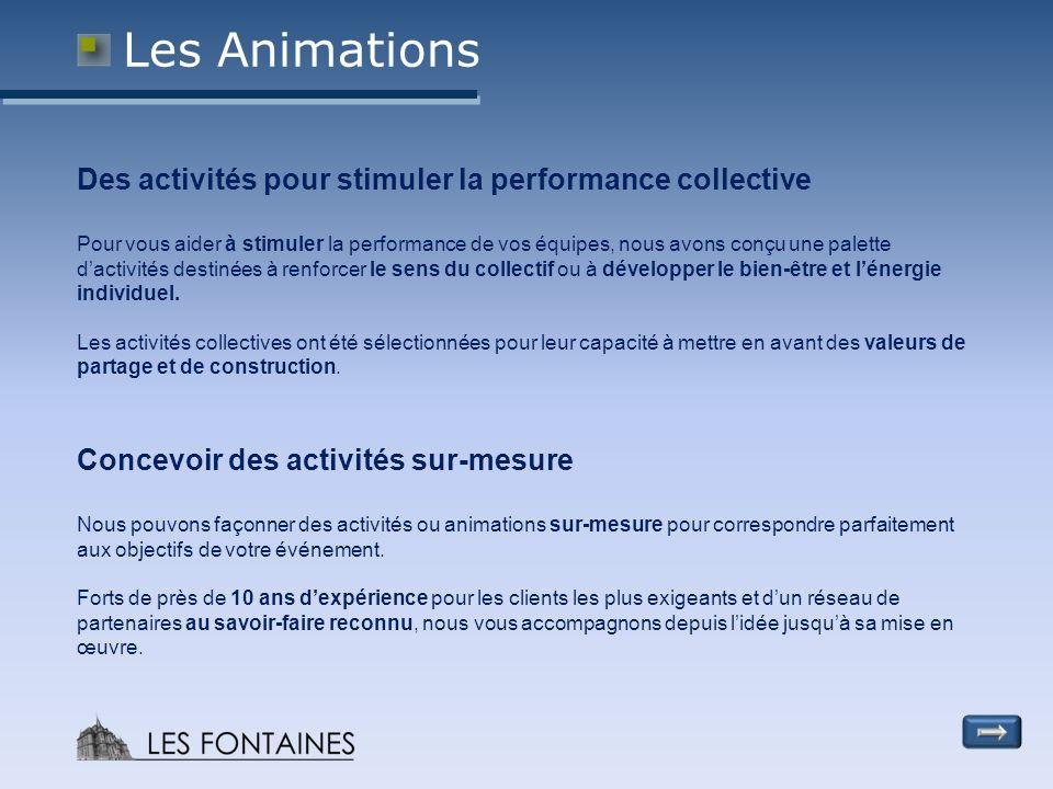 Les Animations Des activités pour stimuler la performance collective Pour vous aider à stimuler la performance de vos équipes, nous avons conçu une palette dactivités destinées à renforcer le sens du collectif ou à développer le bien-être et lénergie individuel.