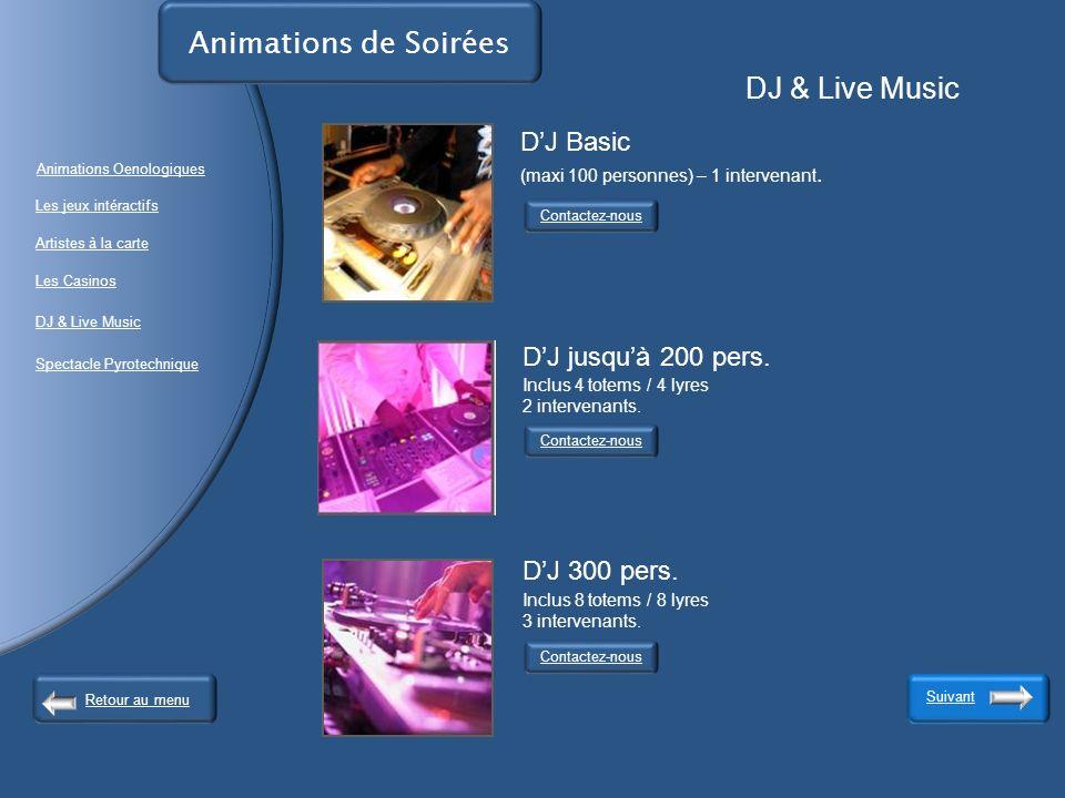 Animations de Soirées DJ & Live Music Contactez-nous Suivant Contactez-nous DJ Basic (maxi 100 personnes) – 1 intervenant.