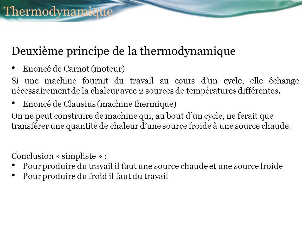 Deuxième principe de la thermodynamique Enoncé de Carnot (moteur) Si une machine fournit du travail au cours dun cycle, elle échange nécessairement de la chaleur avec 2 sources de températures différentes.