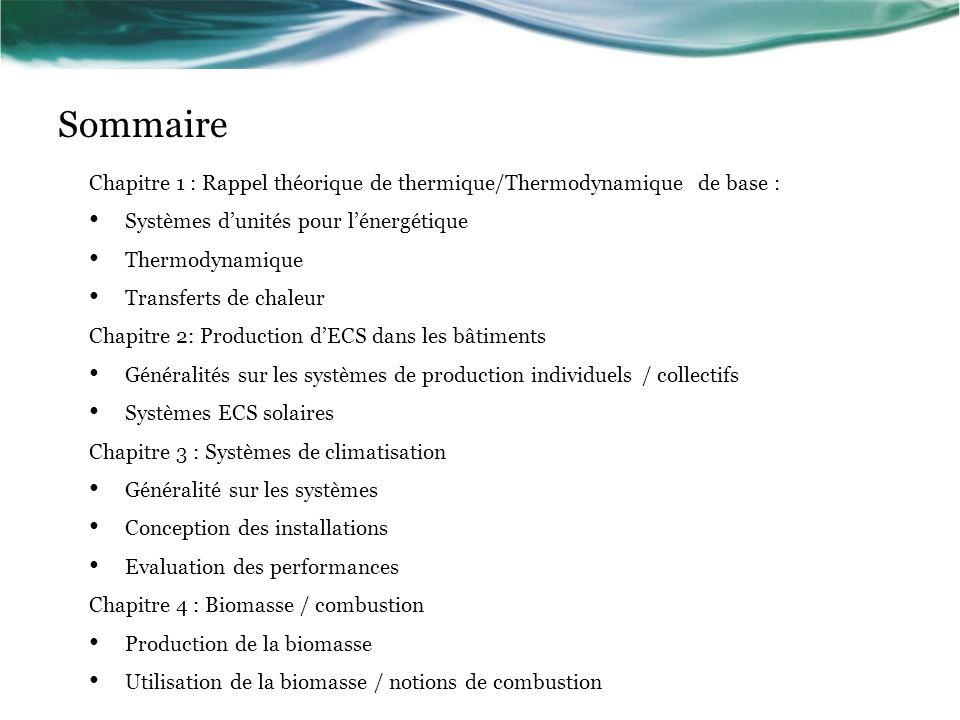 Chapitre 1 : Rappel théorique de thermique/Thermodynamique de base : Systèmes dunités pour lénergétique Thermodynamique Transferts de chaleur Chapitre 2: Production dECS dans les bâtiments Généralités sur les systèmes de production individuels / collectifs Systèmes ECS solaires Chapitre 3 : Systèmes de climatisation Généralité sur les systèmes Conception des installations Evaluation des performances Chapitre 4 : Biomasse / combustion Production de la biomasse Utilisation de la biomasse / notions de combustion Sommaire