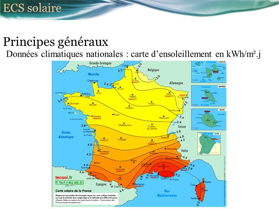 Principes généraux Données climatiques nationales : carte densoleillement en kWh/m².j ECS solaire
