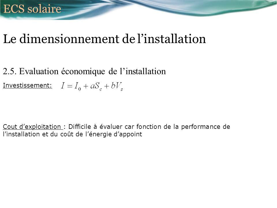 2.5. Evaluation économique de linstallation Investissement: Le dimensionnement de linstallation Cout dexploitation : Difficile à évaluer car fonction