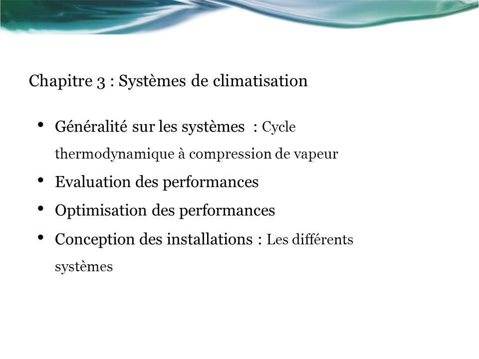 Généralité sur les systèmes : Cycle thermodynamique à compression de vapeur Evaluation des performances Optimisation des performances Conception des installations : Les différents systèmes Chapitre 3 : Systèmes de climatisation
