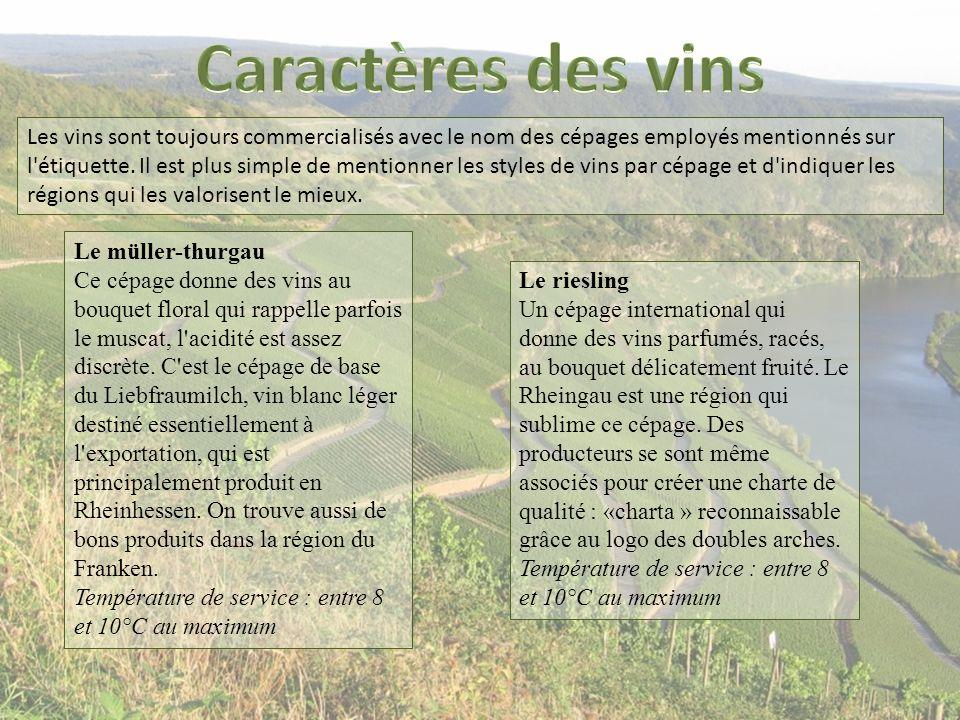 Les vins sont toujours commercialisés avec le nom des cépages employés mentionnés sur l'étiquette. Il est plus simple de mentionner les styles de vins