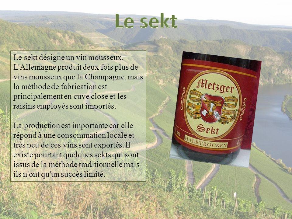 Le sekt désigne un vin mousseux. L'Allemagne produit deux fois plus de vins mousseux que la Champagne, mais la méthode de fabrication est principaleme