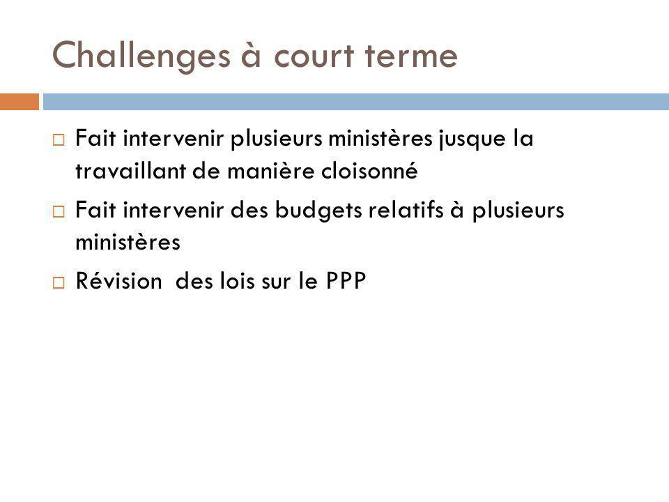 Challenges à court terme Fait intervenir plusieurs ministères jusque la travaillant de manière cloisonné Fait intervenir des budgets relatifs à plusieurs ministères Révision des lois sur le PPP