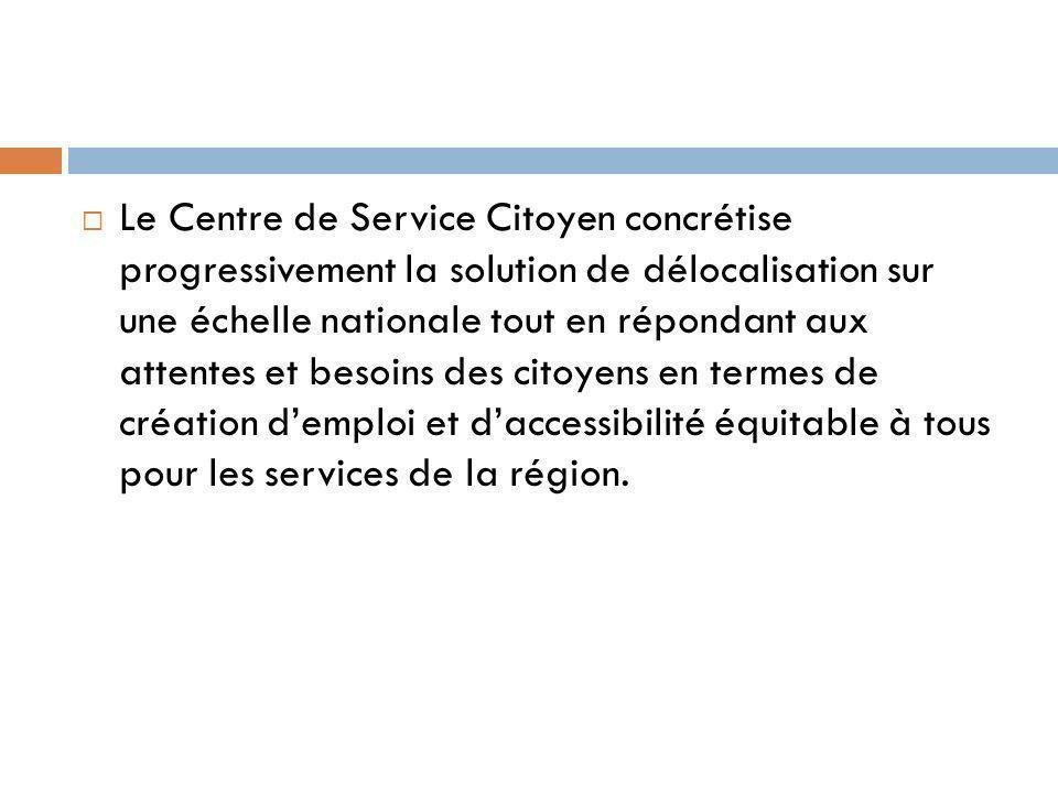 Le Centre de Service Citoyen concrétise progressivement la solution de délocalisation sur une échelle nationale tout en répondant aux attentes et besoins des citoyens en termes de création demploi et daccessibilité équitable à tous pour les services de la région.