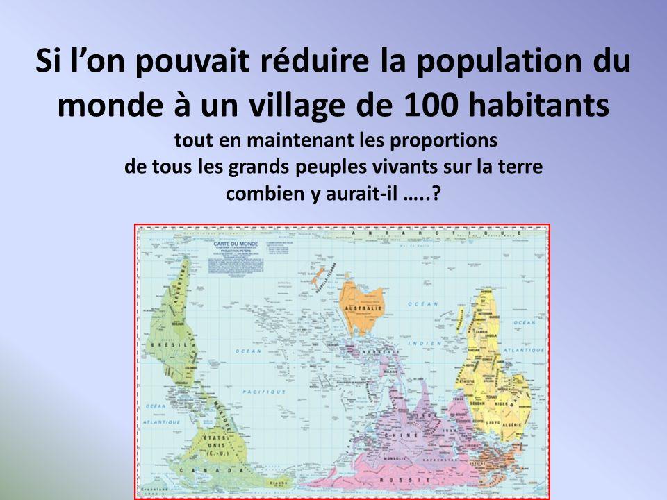 Si lon pouvait réduire la population du monde à un village de 100 habitants tout en maintenant les proportions de tous les grands peuples vivants sur la terre combien y aurait-il …..