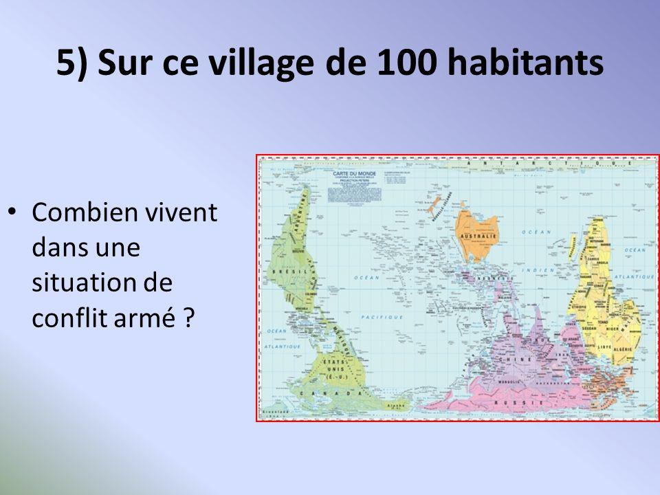 5) Sur ce village de 100 habitants Combien vivent dans une situation de conflit armé