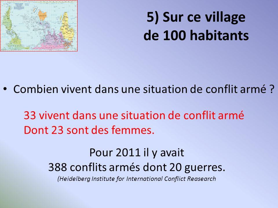 5) Sur ce village de 100 habitants Combien vivent dans une situation de conflit armé .