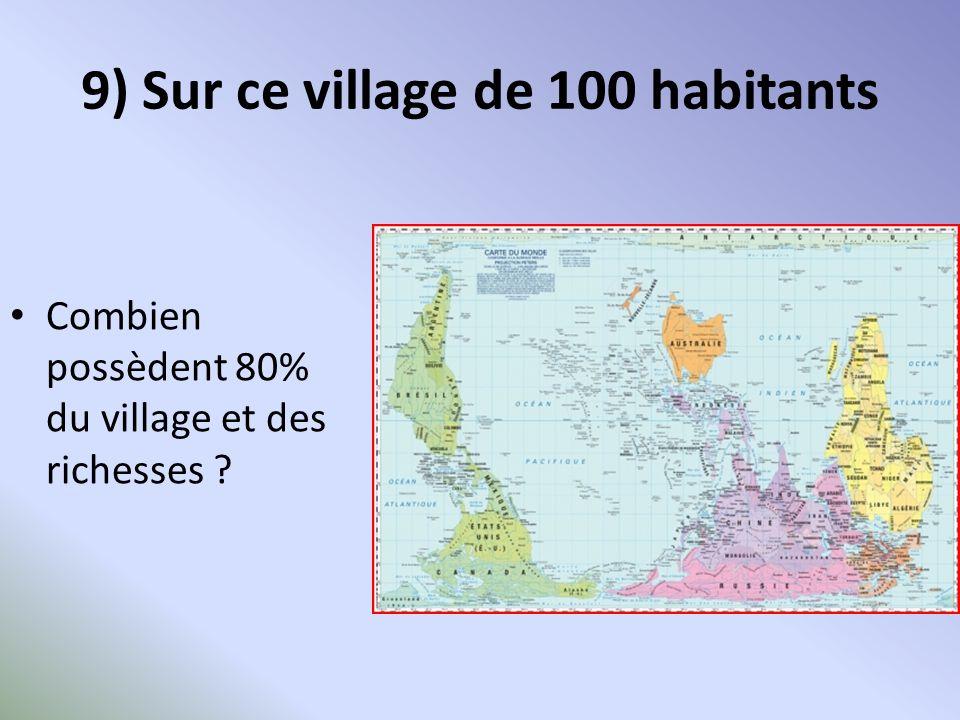 9) Sur ce village de 100 habitants Combien possèdent 80% du village et des richesses