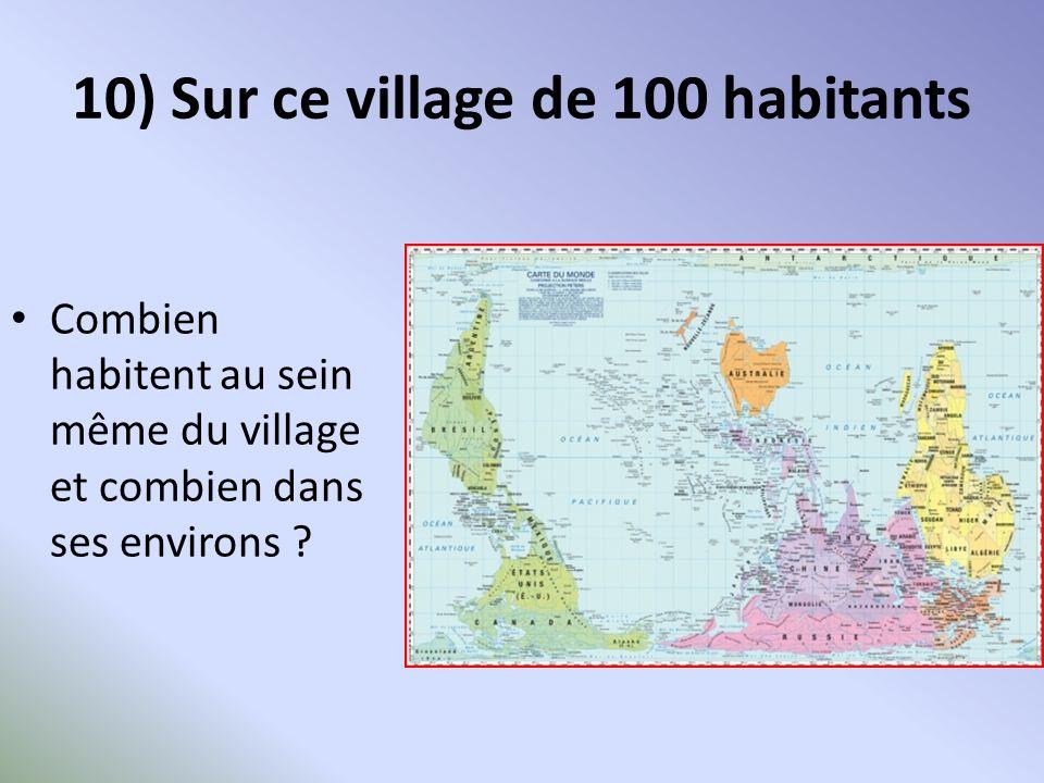 10) Sur ce village de 100 habitants Combien habitent au sein même du village et combien dans ses environs