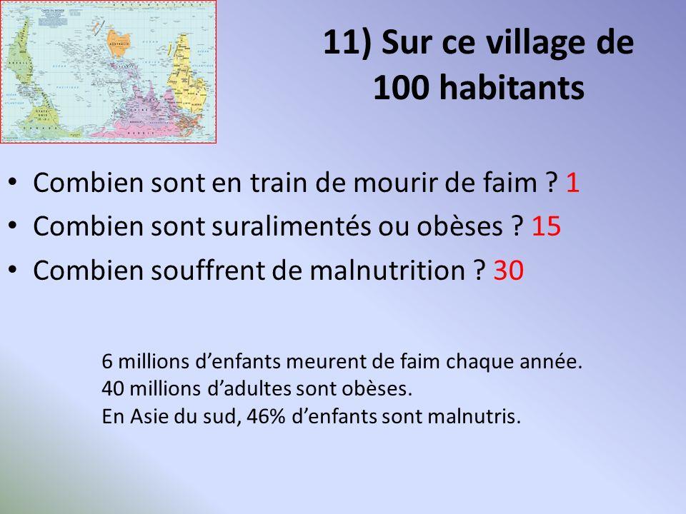 11) Sur ce village de 100 habitants Combien sont en train de mourir de faim .