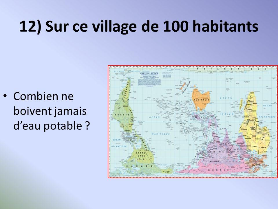 12) Sur ce village de 100 habitants Combien ne boivent jamais deau potable