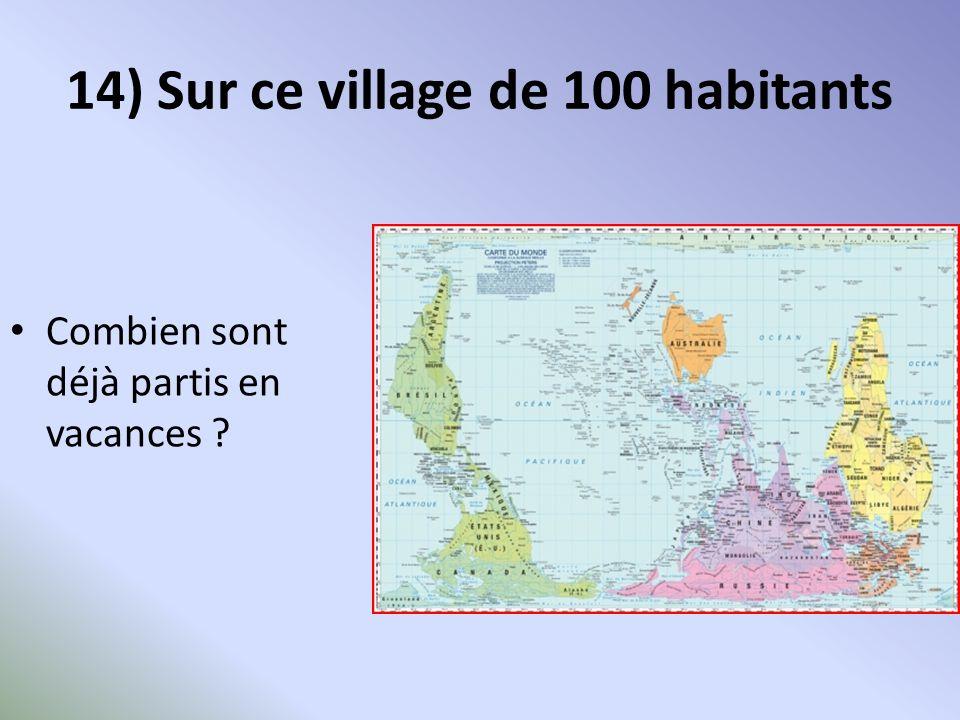 14) Sur ce village de 100 habitants Combien sont déjà partis en vacances