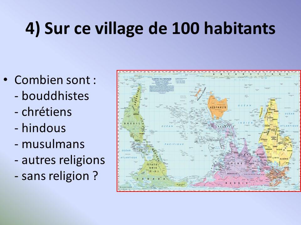 4) Sur ce village de 100 habitants RELIGIONNOMBREREGION bouddhistes 6 soit 325 millions Sri Lanka, Tibet, Asie du Sud-est chrétiens33 soit 2,6 milliards hindous15 soit 1 milliard Inde, Népal Bangladesh musulmans 21 1,5 milliard Asie, Moyen Orient, Afrique un peu en Europe autres religions11 autres religions : dont 15 millions de juifs Europe Amérique du Nord sans religion14 sans religion dont 2 athées