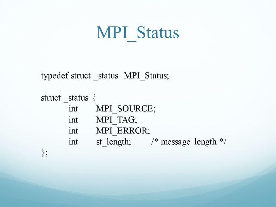 MPI_Status typedef struct _statusMPI_Status; struct _status { intMPI_SOURCE; intMPI_TAG; intMPI_ERROR; intst_length;/* message length */ };