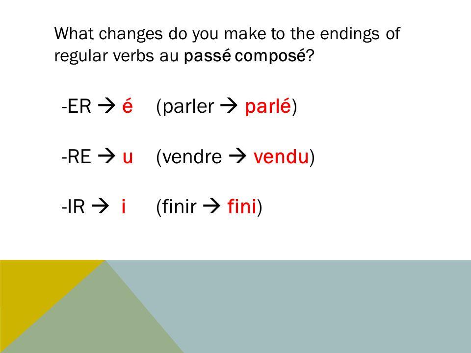 What changes do you make to the endings of regular verbs au passé composé? -ER é (parler parlé) -RE u(vendre vendu) -IR i(finir fini)