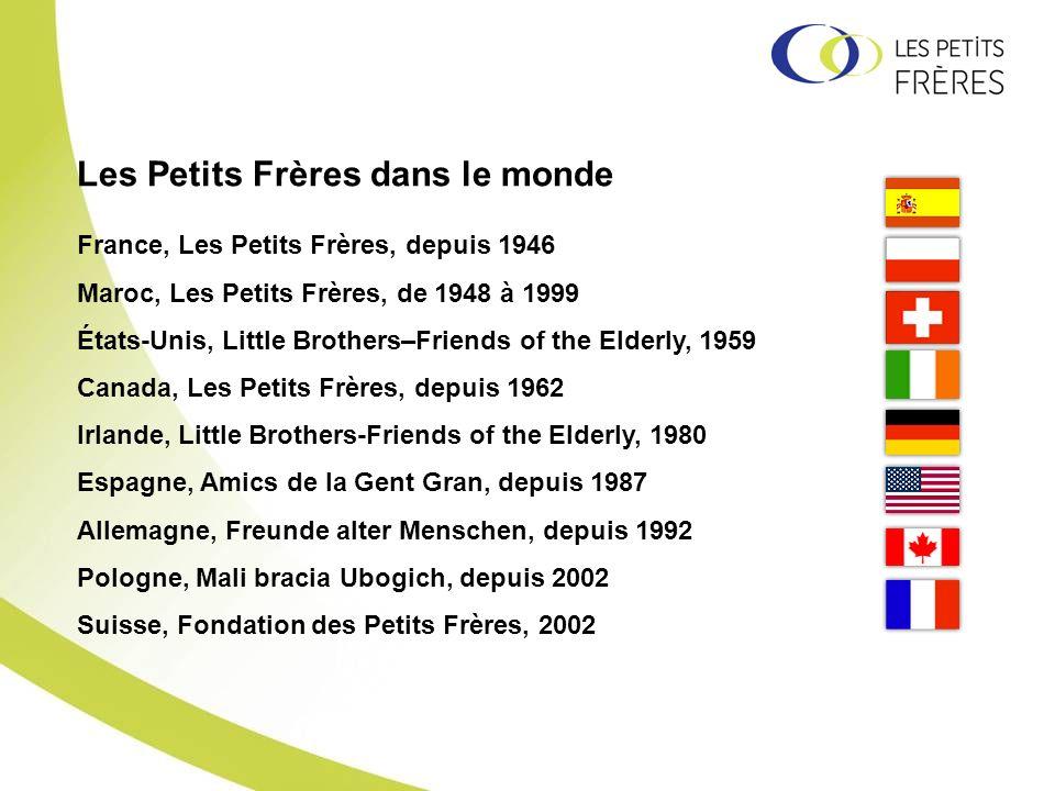 France, Les Petits Frères, depuis 1946 Maroc, Les Petits Frères, de 1948 à 1999 États-Unis, Little Brothers–Friends of the Elderly, 1959 Canada, Les P