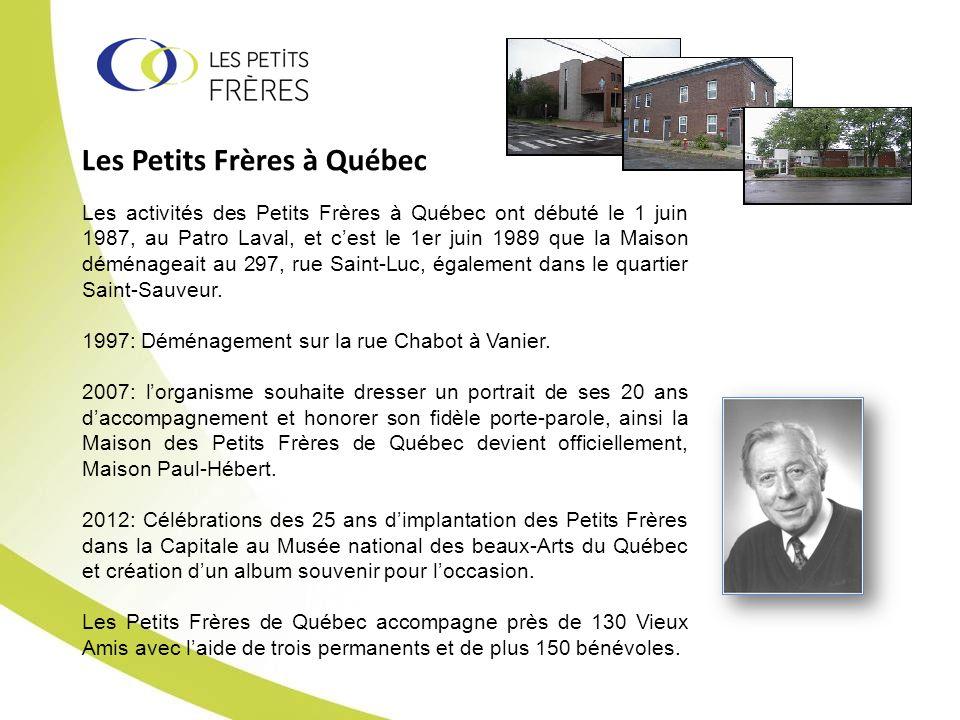 Les Petits Frères à Québec Les activités des Petits Frères à Québec ont débuté le 1 juin 1987, au Patro Laval, et cest le 1er juin 1989 que la Maison