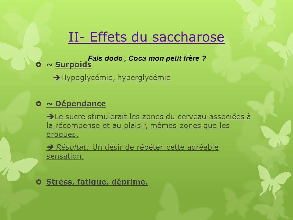 II- Effets du saccharose ~ Surpoids Hypoglycémie, hyperglycémie ~ Dépendance Le sucre stimulerait les zones du cerveau associées à la récompense et au
