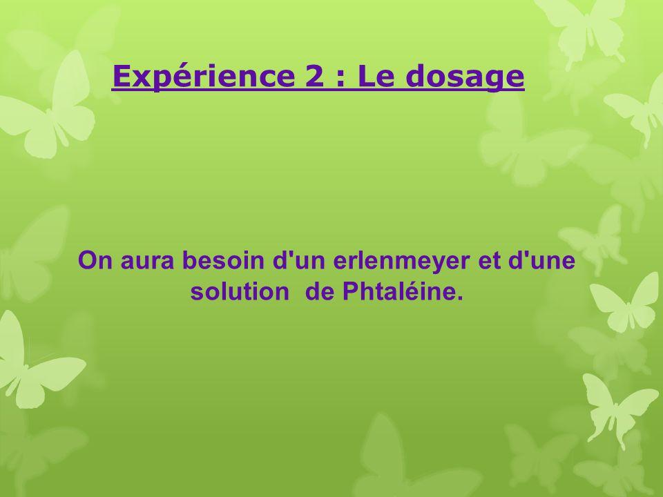 On aura besoin d'un erlenmeyer et d'une solution de Phtaléine. Expérience 2 : Le dosage