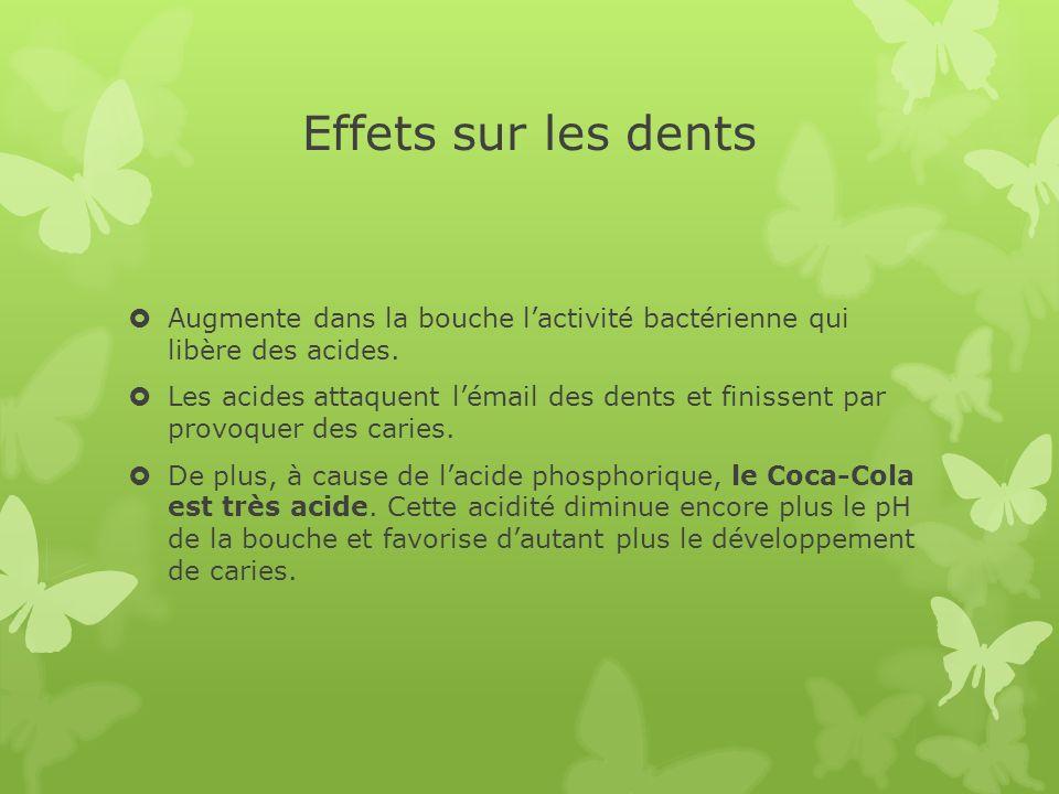Effets sur les dents Augmente dans la bouche lactivité bactérienne qui libère des acides. Les acides attaquent lémail des dents et finissent par provo