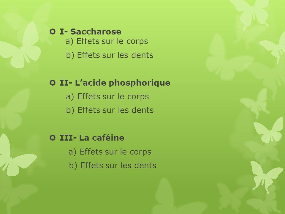 I- Saccharose a) Effets sur le corps b) Effets sur les dents II- Lacide phosphorique a) Effets sur le corps b) Effets sur les dents III- La caféine a)