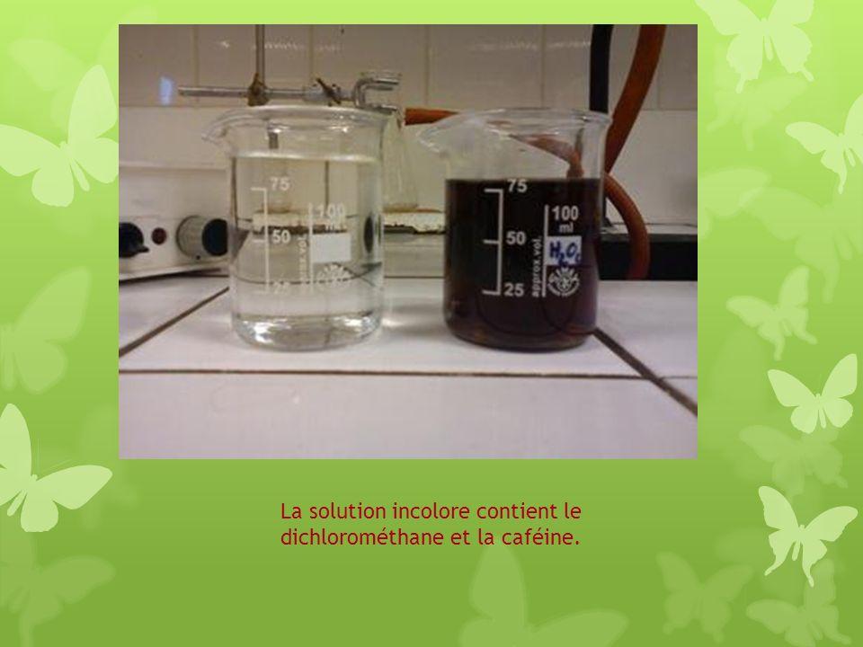 La solution incolore contient le dichlorométhane et la caféine.