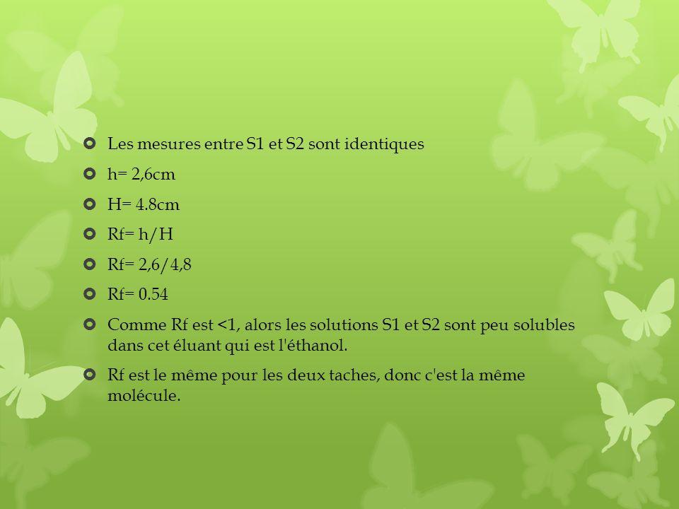 Les mesures entre S1 et S2 sont identiques h= 2,6cm H= 4.8cm Rf= h/H Rf= 2,6/4,8 Rf= 0.54 Comme Rf est <1, alors les solutions S1 et S2 sont peu solub