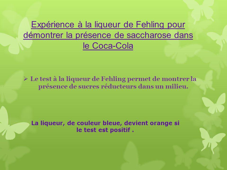 Le test à la liqueur de Fehling permet de montrer la présence de sucres réducteurs dans un milieu. La liqueur, de couleur bleue, devient orange si le