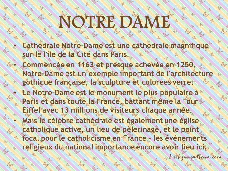NOTRE DAME Cathédrale Notre-Dame est une cathédrale magnifique sur le l'île de la Cité dans Paris. Commencée en 1163 et presque achevée en 1250, Notre