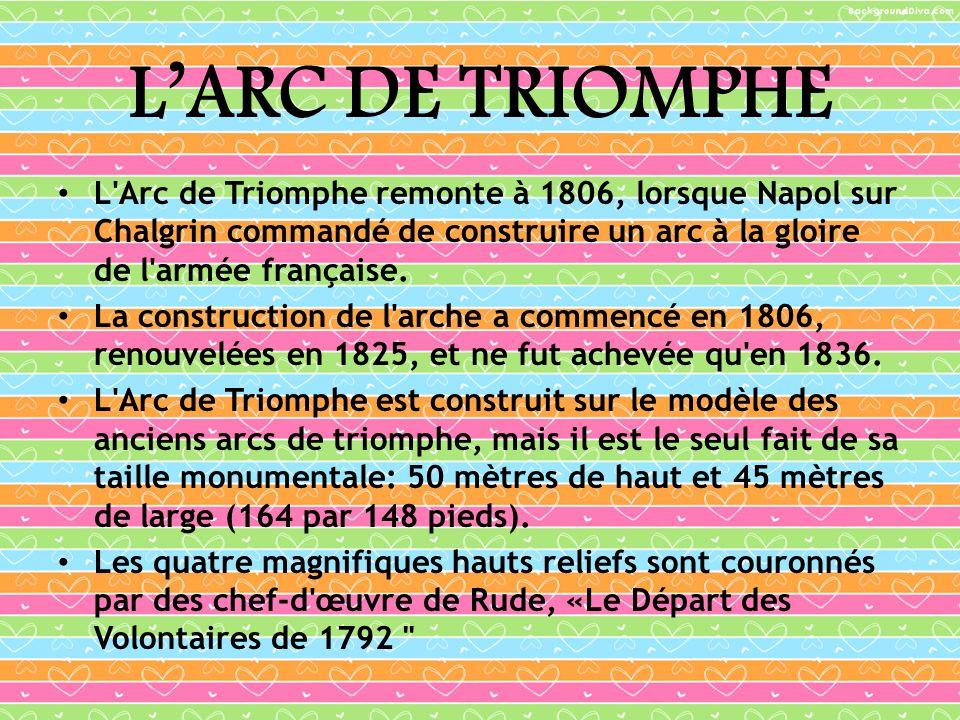 LARC DE TRIOMPHE L'Arc de Triomphe remonte à 1806, lorsque Napol sur Chalgrin commandé de construire un arc à la gloire de l'armée française. La const