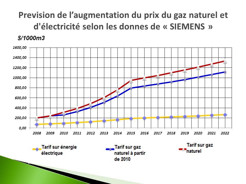 Prevision de laugmentation du prix du gaz naturel et d'électricité selon les donnes de « SIEMENS »