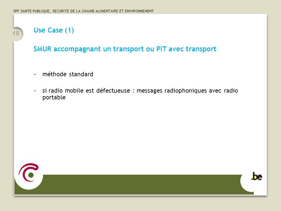 SPF SANTE PUBLIQUE, SECURITE DE LA CHAINE ALIMENTAIRE ET ENVIRONNEMENT 15 Use Case (1) SMUR accompagnant un transport ou PIT avec transport -méthode s