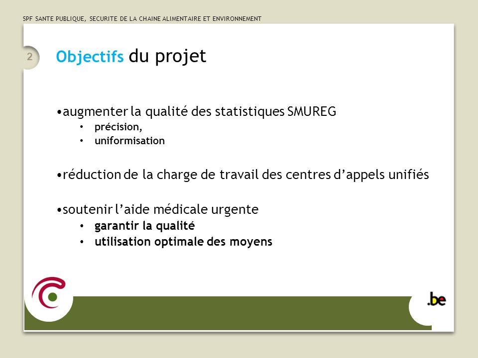 SPF SANTE PUBLIQUE, SECURITE DE LA CHAINE ALIMENTAIRE ET ENVIRONNEMENT Objectifs du projet augmenter la qualité des statistiques SMUREG précision, uni