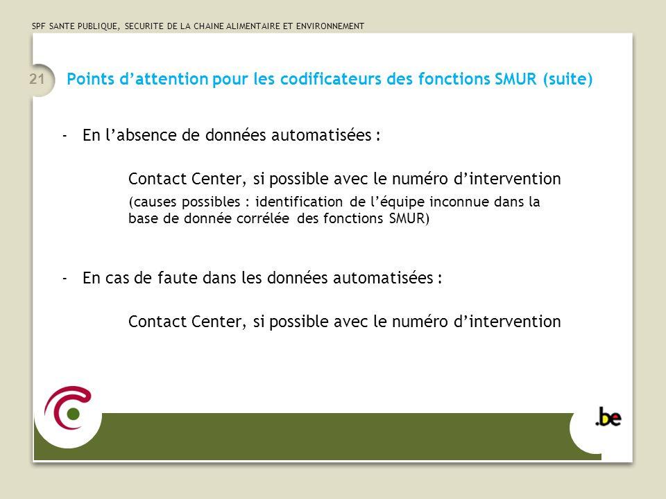 SPF SANTE PUBLIQUE, SECURITE DE LA CHAINE ALIMENTAIRE ET ENVIRONNEMENT 21 Points dattention pour les codificateurs des fonctions SMUR (suite) -En labs