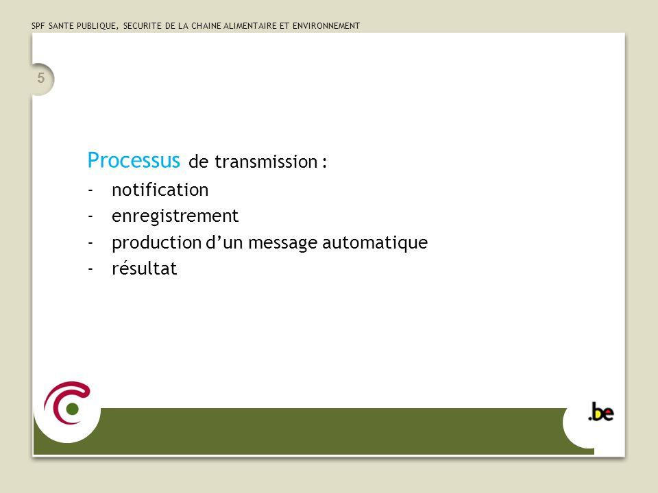SPF SANTE PUBLIQUE, SECURITE DE LA CHAINE ALIMENTAIRE ET ENVIRONNEMENT Processus de transmission : -notification -enregistrement -production dun messa