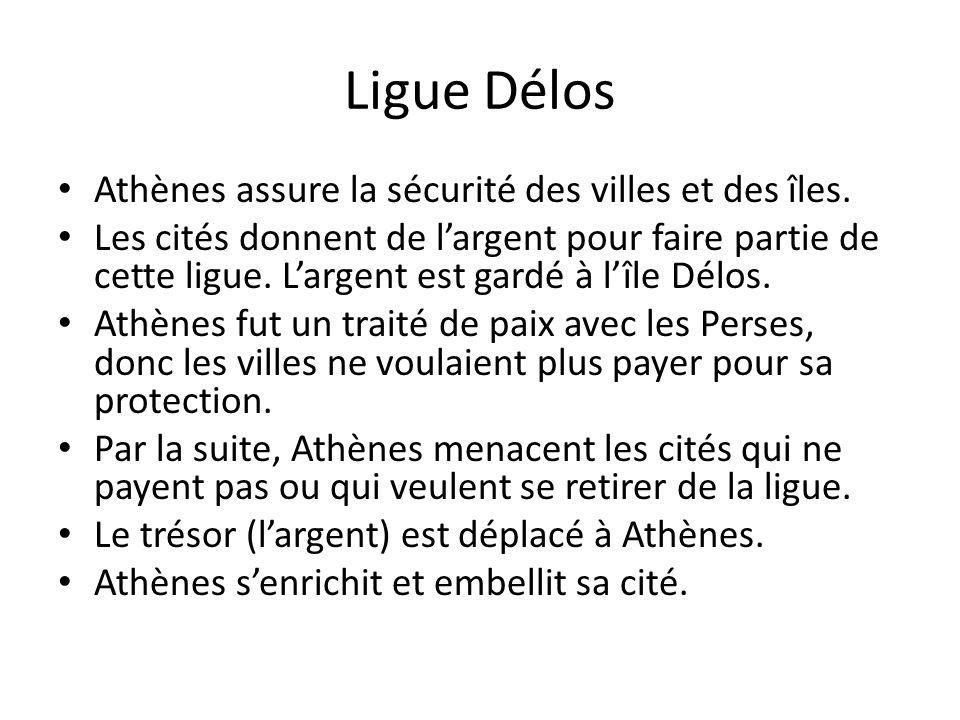 Ligue Délos Athènes assure la sécurité des villes et des îles. Les cités donnent de largent pour faire partie de cette ligue. Largent est gardé à lîle