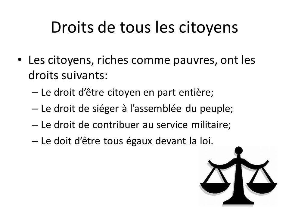 Droits de tous les citoyens Les citoyens, riches comme pauvres, ont les droits suivants: – Le droit dêtre citoyen en part entière; – Le droit de siége