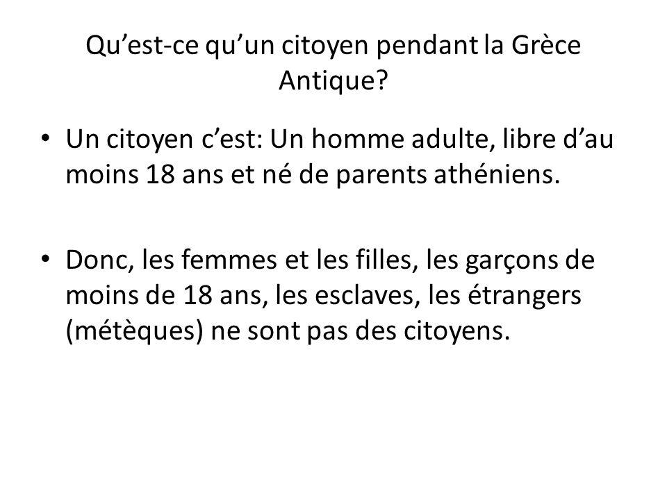 Quest-ce quun citoyen pendant la Grèce Antique? Un citoyen cest: Un homme adulte, libre dau moins 18 ans et né de parents athéniens. Donc, les femmes