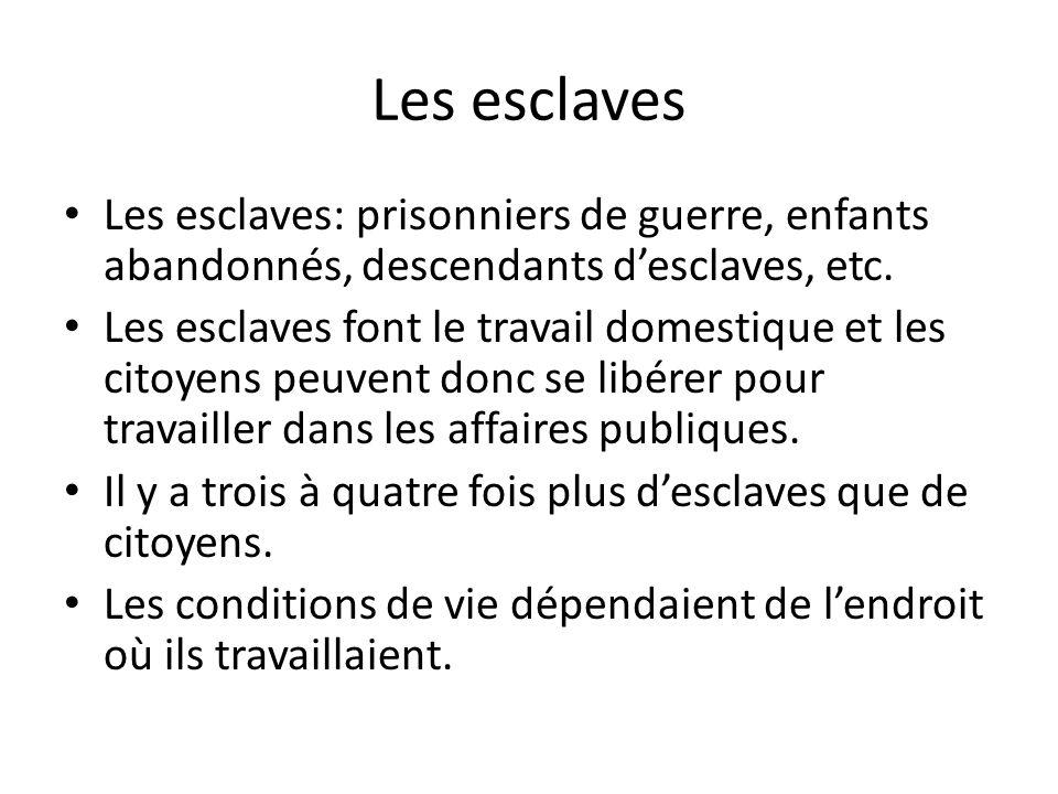 Les esclaves Les esclaves: prisonniers de guerre, enfants abandonnés, descendants desclaves, etc.