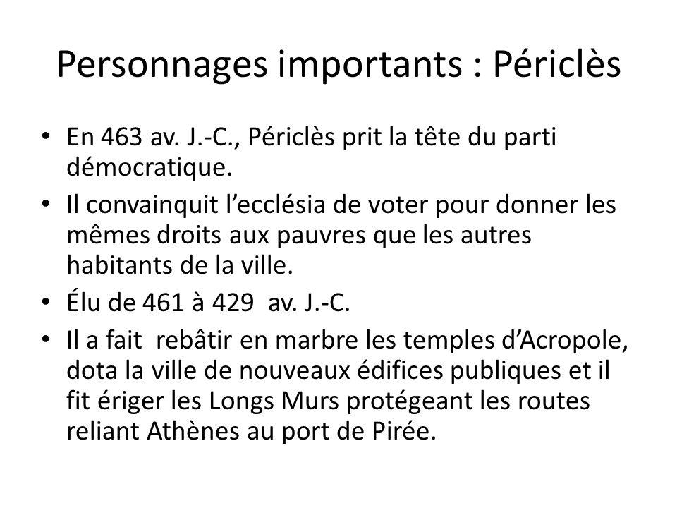 Personnages importants : Périclès En 463 av. J.-C., Périclès prit la tête du parti démocratique. Il convainquit lecclésia de voter pour donner les mêm