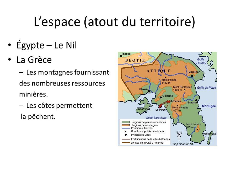 Lespace (atout du territoire) Égypte – Le Nil La Grèce – Les montagnes fournissant des nombreuses ressources minières. – Les côtes permettent la pêche